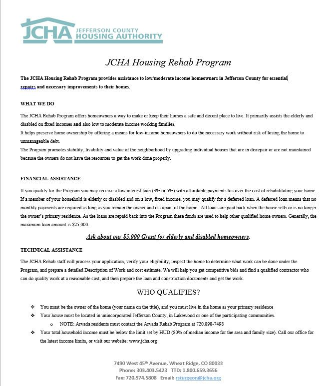 JCHA Home Repair Program Flyer