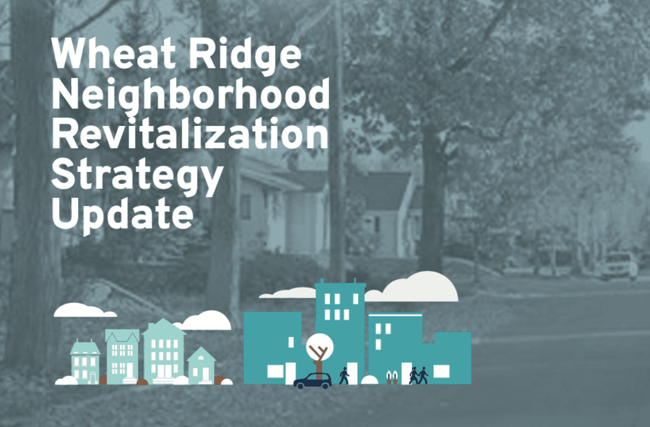 Graphic that says Neighborhood Revitalization Strategy with little houses and cars