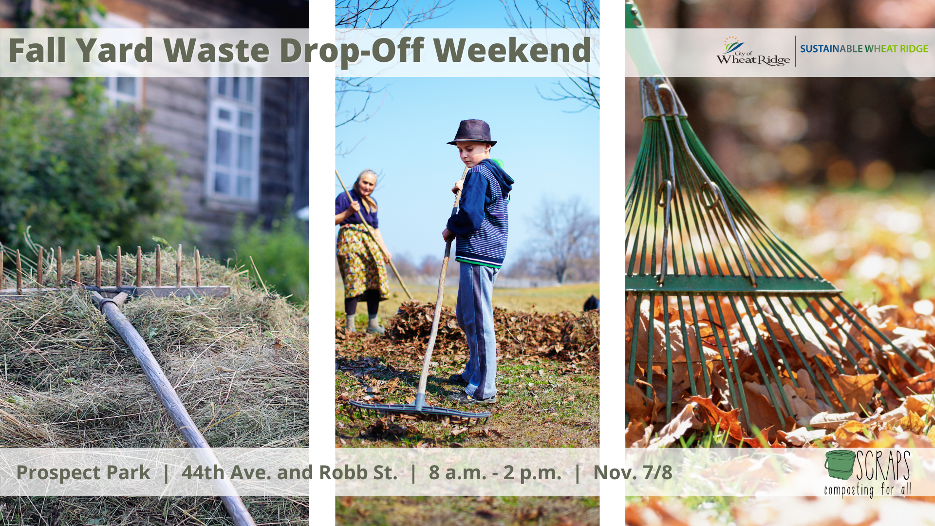 People raking leaves and dates of Yard Waste Drop off Nov 7 and 8