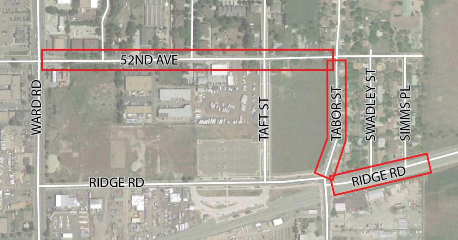 Simple project map outlining boundary of 52nd, Tabor, and Ridge improvements