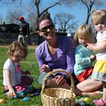 Mom and kids at Easter Egg Hunt